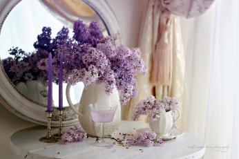 обоя цветы, сирень, зеркало, бокал, свечи