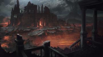 обоя фэнтези, замки, замок, лава, свет