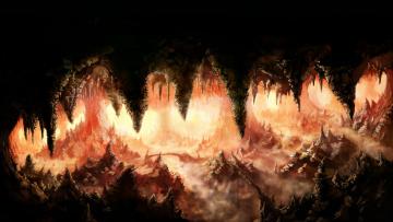 обоя фэнтези, пейзажи, сталагмит, сталактит, пещера, фон
