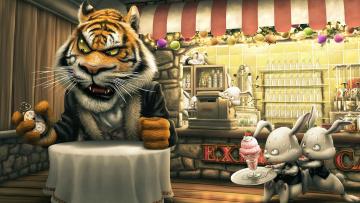 обоя юмор и приколы, кролики, тигр, кафе