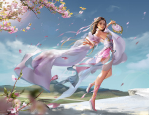 обоя фэнтези, девушки, весна, фентези, сакура, девушка, настроение, веер