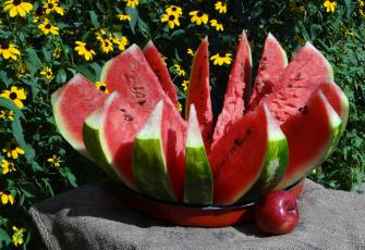 обоя еда, арбуз, корона, венец, яблоко, цветы, лето