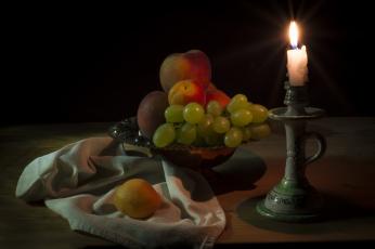 обоя еда, натюрморт, фрукты, свеча