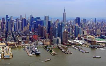 обоя города, нью-йорк , сша, море, причалы, суда, панорама, город