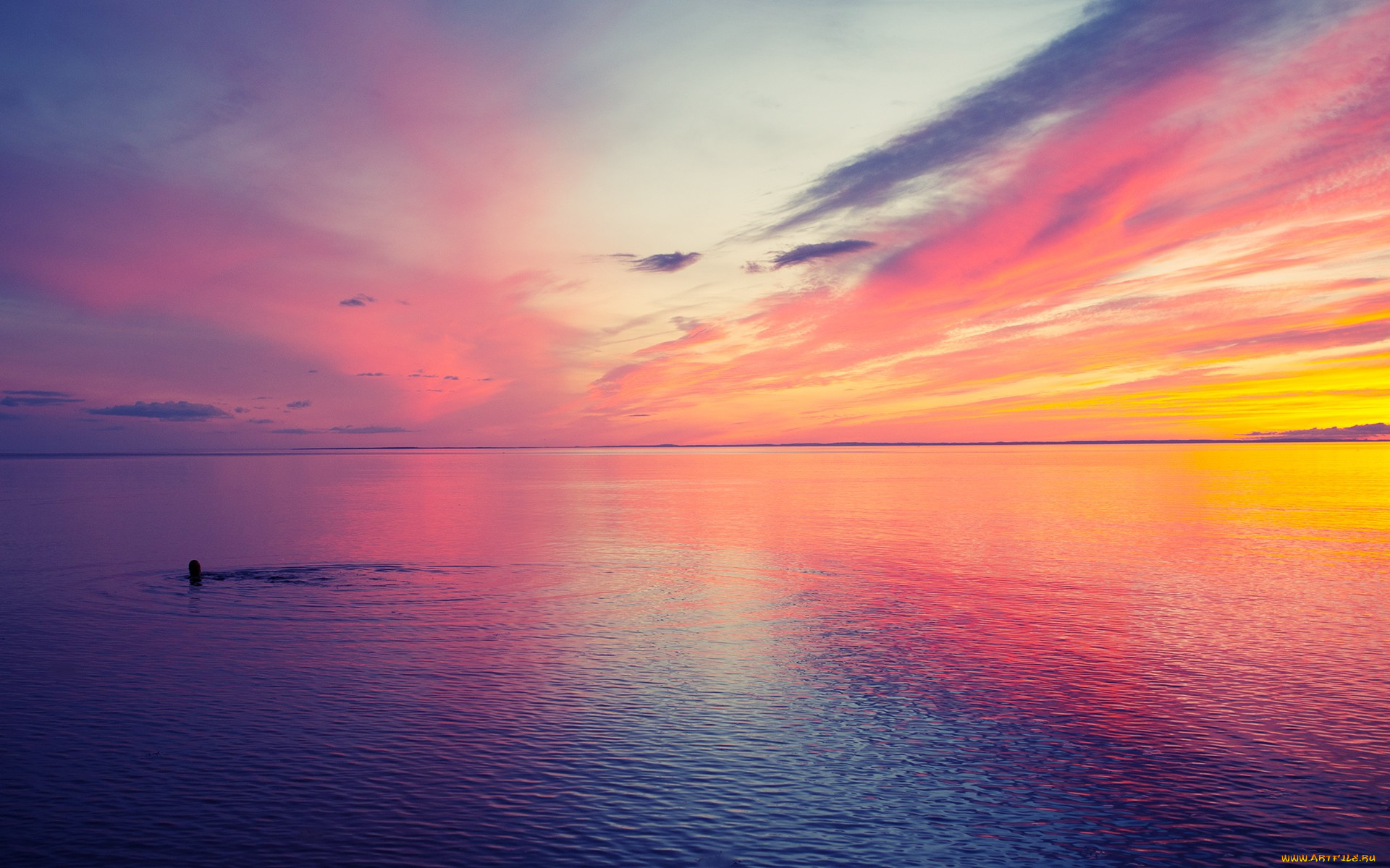 Картинка с рассветом на море, днем