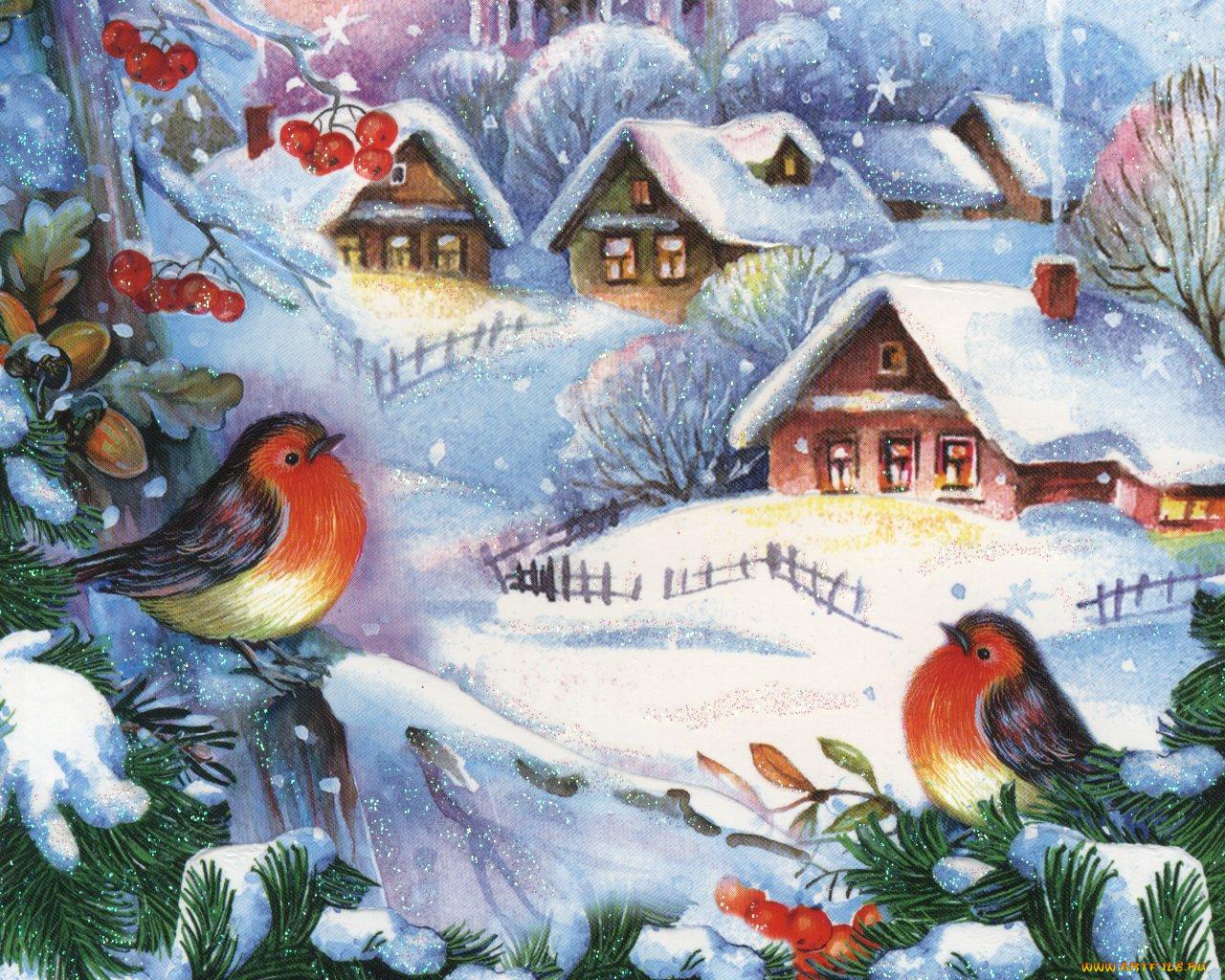 Зимние открытки нарисовать