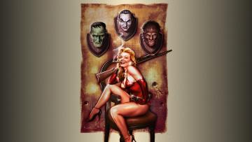 Картинка фэнтези девушки ружьё трофеи дракула оборотень франкенштейн