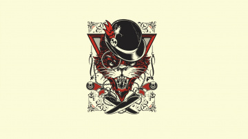 Картинка рисованное минимализм hat evil cat hydro74 joshua m smith art minimalism knives