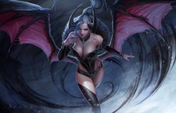 обоя фэнтези, демоны, арт, крылья, arang