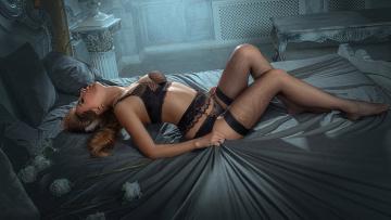 обоя девушки, -unsort , брюнетки, темноволосые, белье, красота, кровать