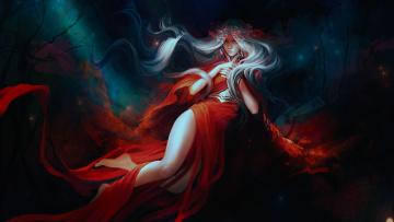 обоя фэнтези, девушки, девушка, by, exellero, красное, платье