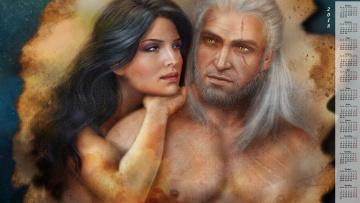 обоя календари, фэнтези, ведьмак, мужчина, женщина