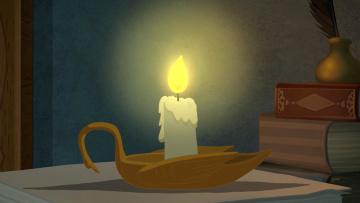 обоя рисованное, - другое, книга, пламя, свеча