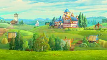 обоя рисованное, города, церковь, часовня, деревья, дворец, изба