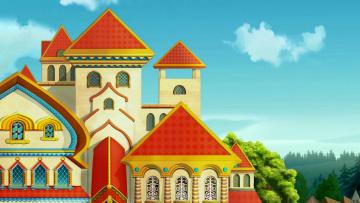обоя рисованное, города, дворец