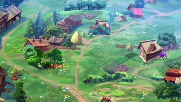 обоя рисованное, города, изба, дорога, стог, растения