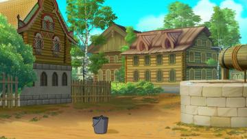 обоя рисованное, города, изба, ведро, колодец, забор