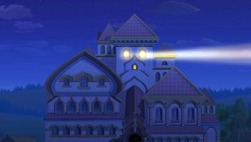 обоя рисованное, города, луч, дворец, ночь
