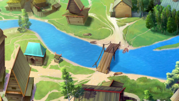 обоя рисованное, города, мост, изба, водоем