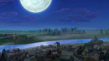 обоя рисованное, города, ночь, луна, водоем, деревья