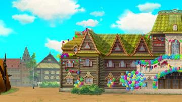 обоя рисованное, города, воздушный, шар, изба