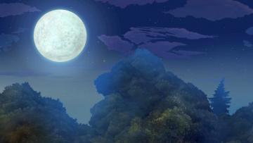 обоя рисованное, природа, деревья, луна, ночь
