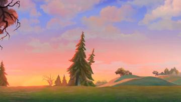 обоя рисованное, природа, холм, деревья, облака