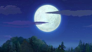 обоя рисованное, природа, ночь, луна, деревья