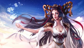 обоя фэнтези, девушки, магия, арт, девушка, ilse, harting, godess, снежинки