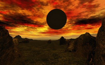 обоя 3д графика, атмосфера, настроение , atmosphere ,  mood , горы, планета