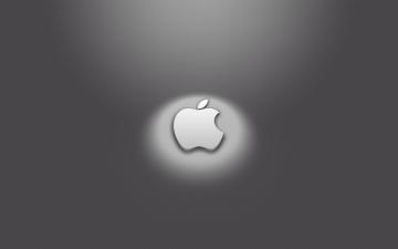 Картинка компьютеры apple яблоко логотип серый