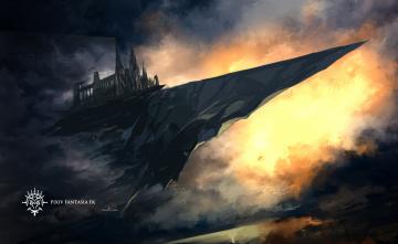 Картинка аниме pixiv+fantasia swd3e2 арт скала замок летит вечер закат небо