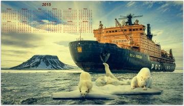 обоя календари, -другое, календарь, медведи, льдина, ледокол