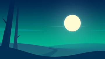 обоя векторная графика, природа , nature, дорога, луна