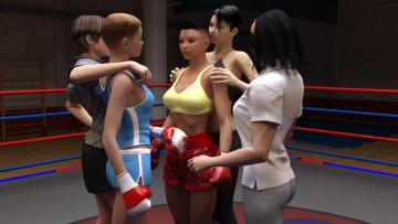 обоя 3д графика, спорт , sport, бокс, ринг, фон, взгляд, девушки