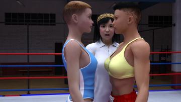 обоя 3д графика, спорт , sport, взгляд, девушки, бокс, ринг, фон