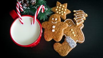 обоя праздничные, угощения, молоко, печенье