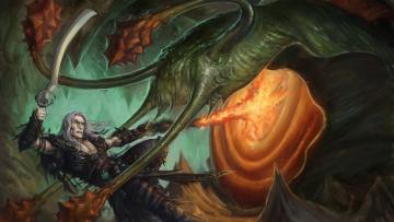 Картинка фэнтези существа чудовище монстр сражение воин