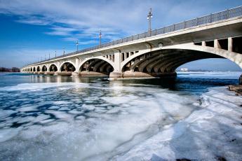 обоя города, - мосты, небо, мост, зима, река, лед