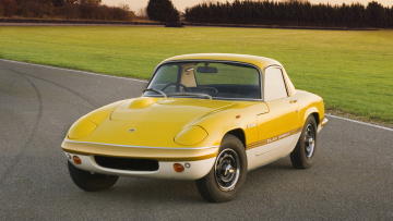 обоя lotus elan sprint 1973, автомобили, lotus, жёлтый, 1973, sprint, elan