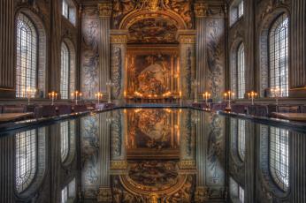 Картинка интерьер дворцы музеи картины отражение окна лепнина