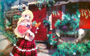 обоя аниме, unknown,  другое, сад, дом, девочка, покупки, цветы