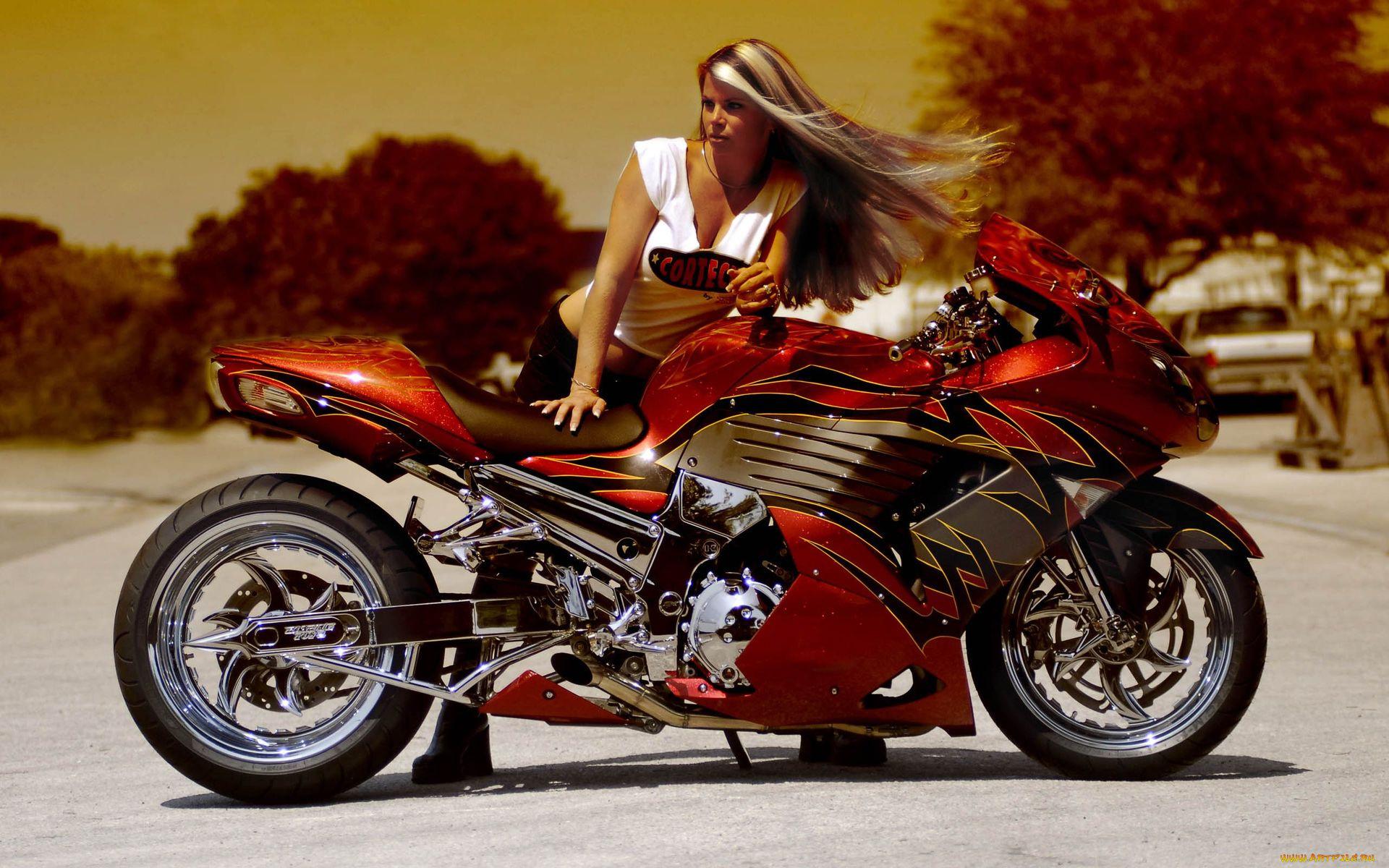 Поздравления картинках, открытки с девушками и мотоциклами