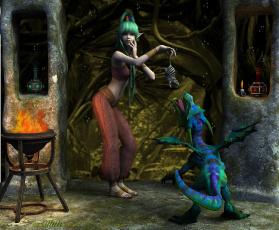 Картинка 3д+графика эльфы+ elves фон взгляд эльфийка дракон