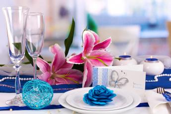 обоя интерьер, декор,  отделка,  сервировка, приглашение, лилии, бокалы