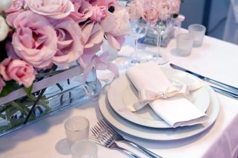 обоя интерьер, декор,  отделка,  сервировка, розы, салфетка, приборы