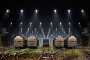 Картинка разное транспортные+средства+и+магистрали жд прожектора ночь вагоны