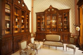 обоя интерьер, дворцы,  музеи, книжные, шкафы, книги, кресла, комната