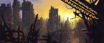 Картинка фэнтези иные+миры +иные+времена арт обломки человек солнце руины город jon baker