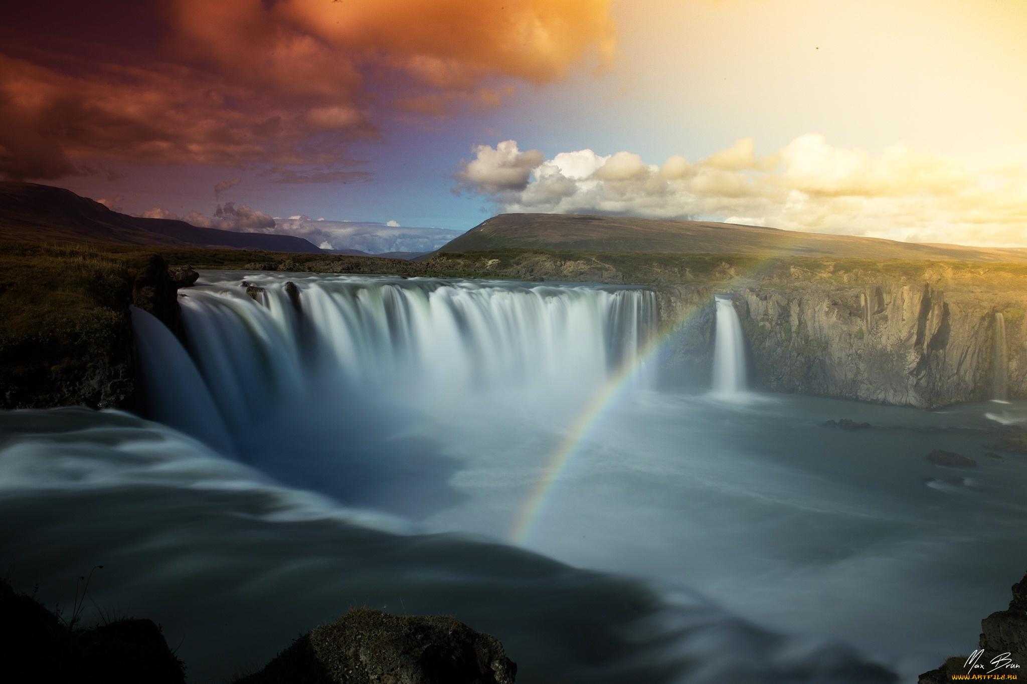 природа водопад деревья радуга  № 70358  скачать